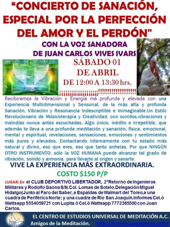 Poster Concierto de Sanación 01 de Abril.