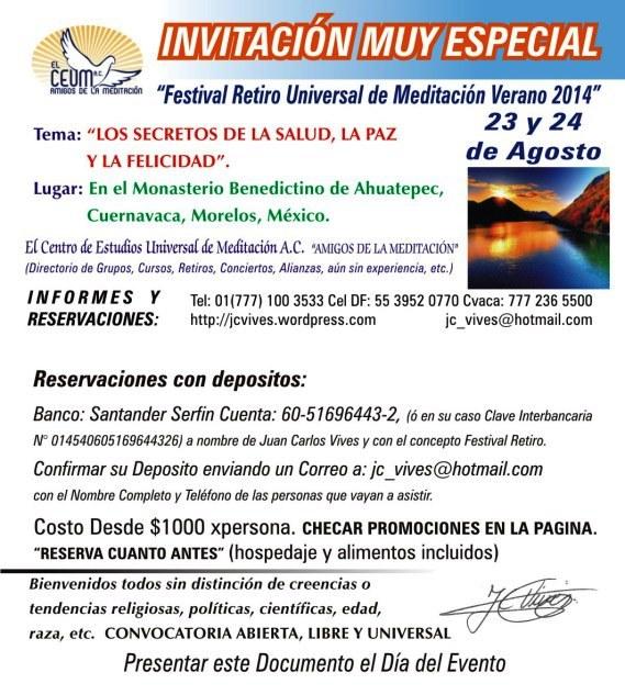 INVITACION MUY ESPECIAL FESTIVAL RETIRO VERANO 2014