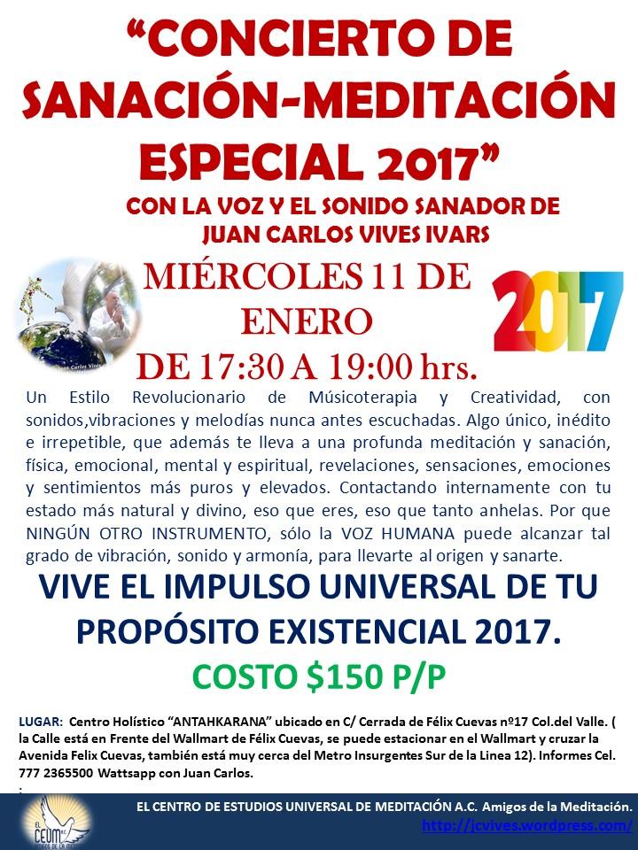 poster concierto de sanacin 11 de enero