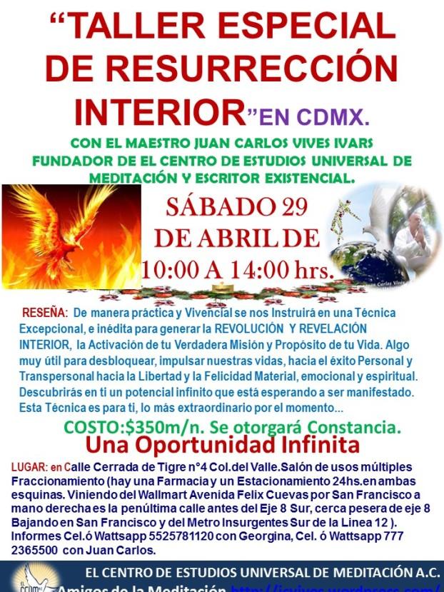 TALLER ESPECIAL DE RESURRECCION CDMX 29 ABRIL.