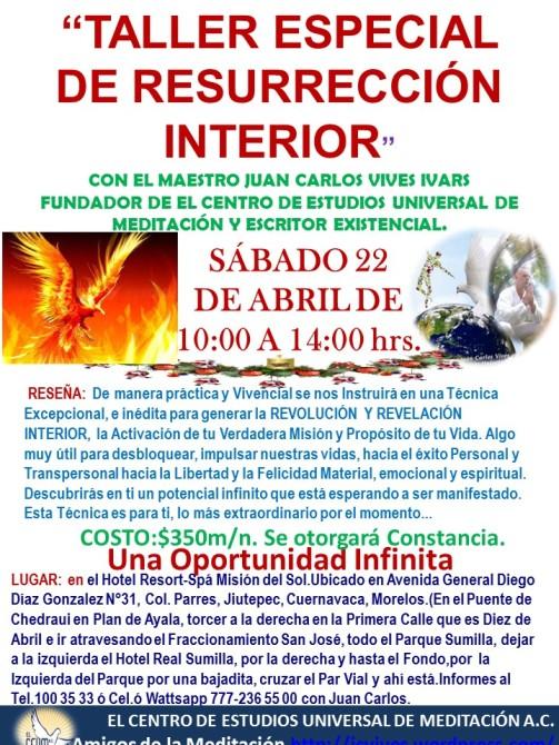 TALLER ESPECIAL DE RESURRECCION INTERIOR