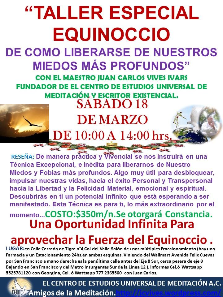 TALLER ESPECIAL EQUINOCCIO DE COMO LIBERARSE DE LOS MIEDOS
