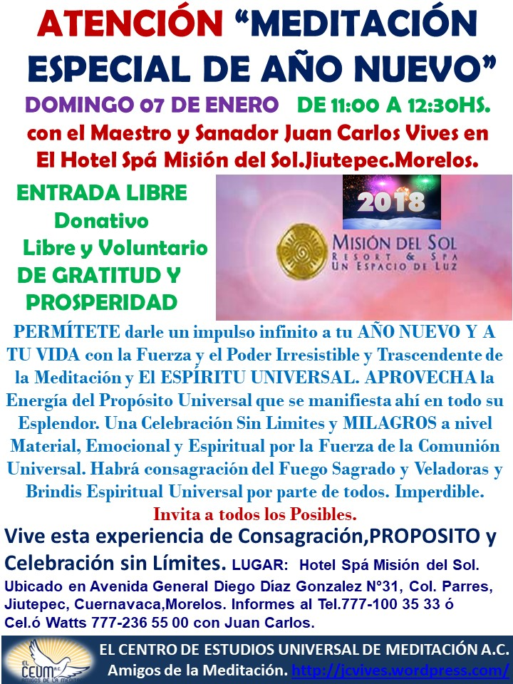 MEDITACIÓN ESPECIAL 2018 Misión del Sol.
