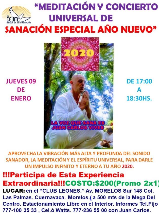 Poster Conciertos de Sanación AÑO NUEVO.CLUB LEONES...
